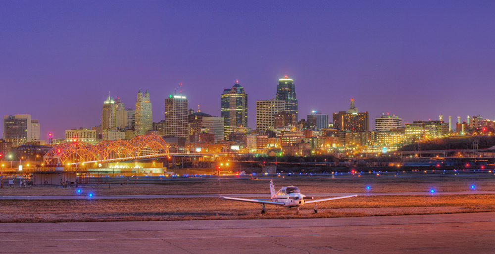 skyline Kansas city airport at twilight night