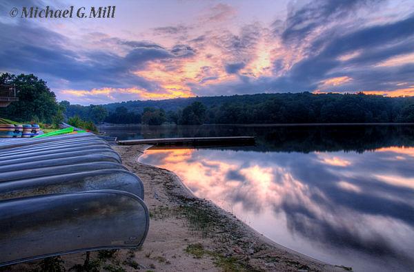 Hopewell Lake Sunset w/Canoes