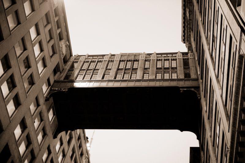 Skywalk linking two buildings in midtown Manhattan