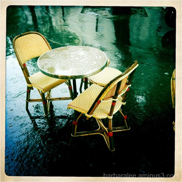 Paris Cafe in the Rain