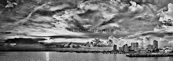 A panoramic view of the Manila Bay coastline.