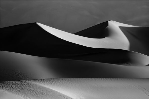 Death Valley dunes in black and white