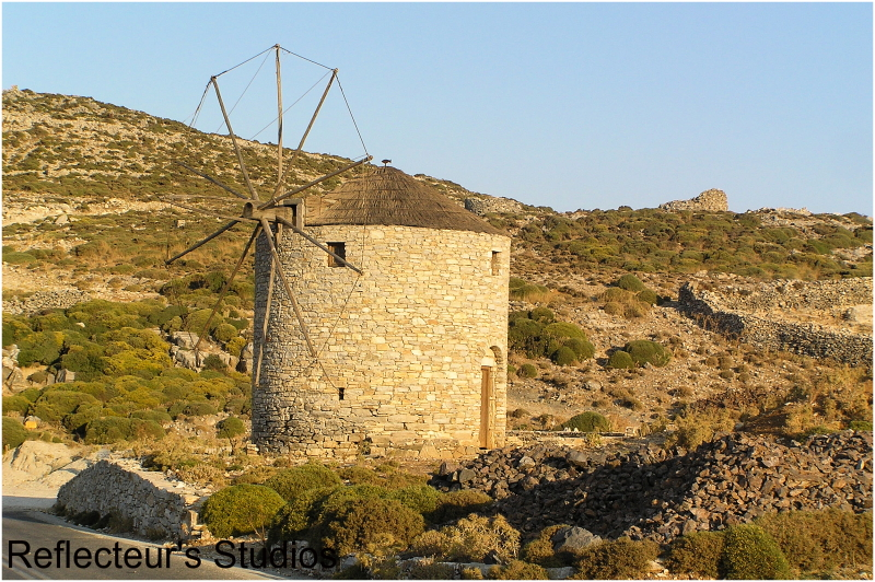 stone windmil island aegean greece hellas summer