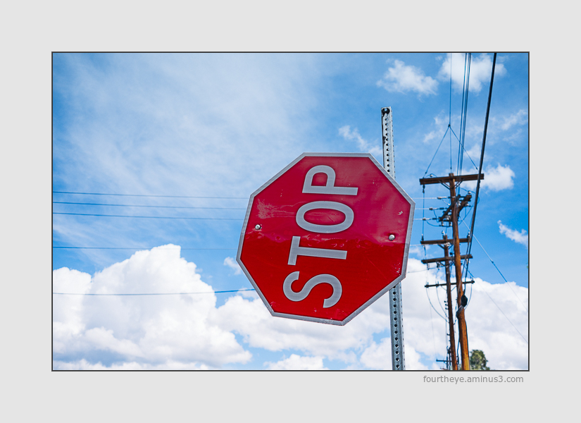 stop sign with strings