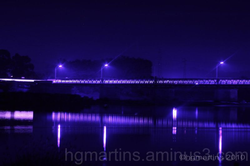 bridge, night photography, river, purple