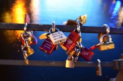 love padlocks on Weidendammer Bridge ,river Spree,