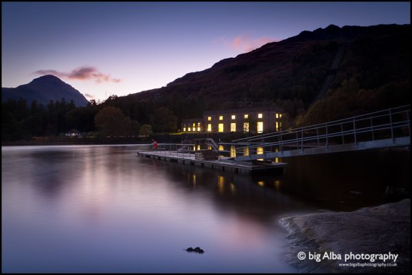 The Sloy hydro station lights as twilight falls