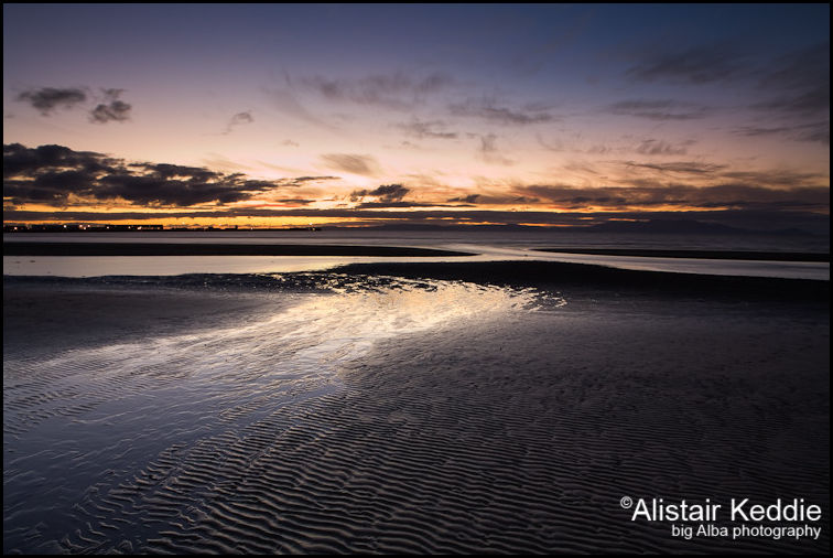 Seascape at twilight from Ayrshire in Scotland