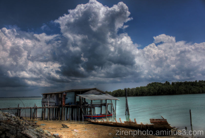 HDR image from the view of a small fishing village
