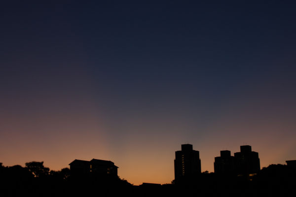 Silhouette of HDB flats during dawn.