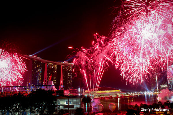 Fireworks display at YOG Closing Ceremony, S'pore.