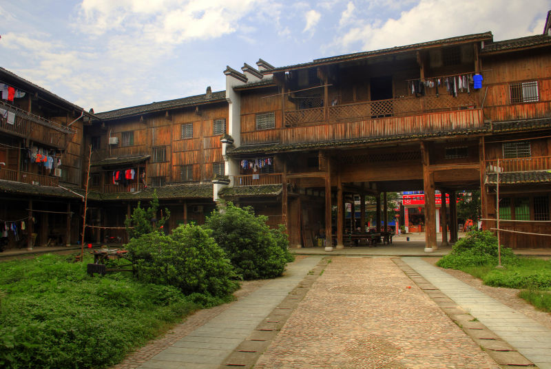 Wooden homes in Anhui Province, China.