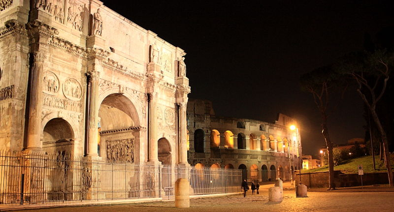 Arch of Constantine Colosseum Rome night