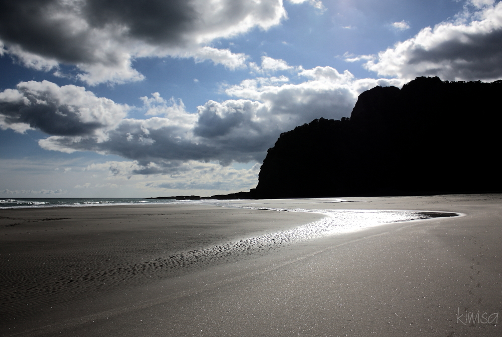 silver light over Karekare Beach