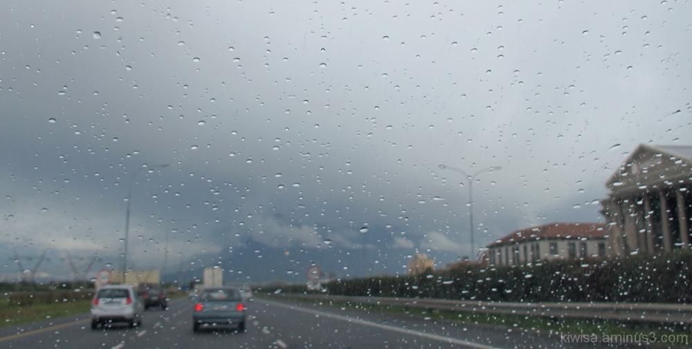 Table Mountain hidden by rain