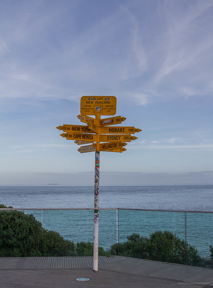 Signpost at Stirling Point, Bluff