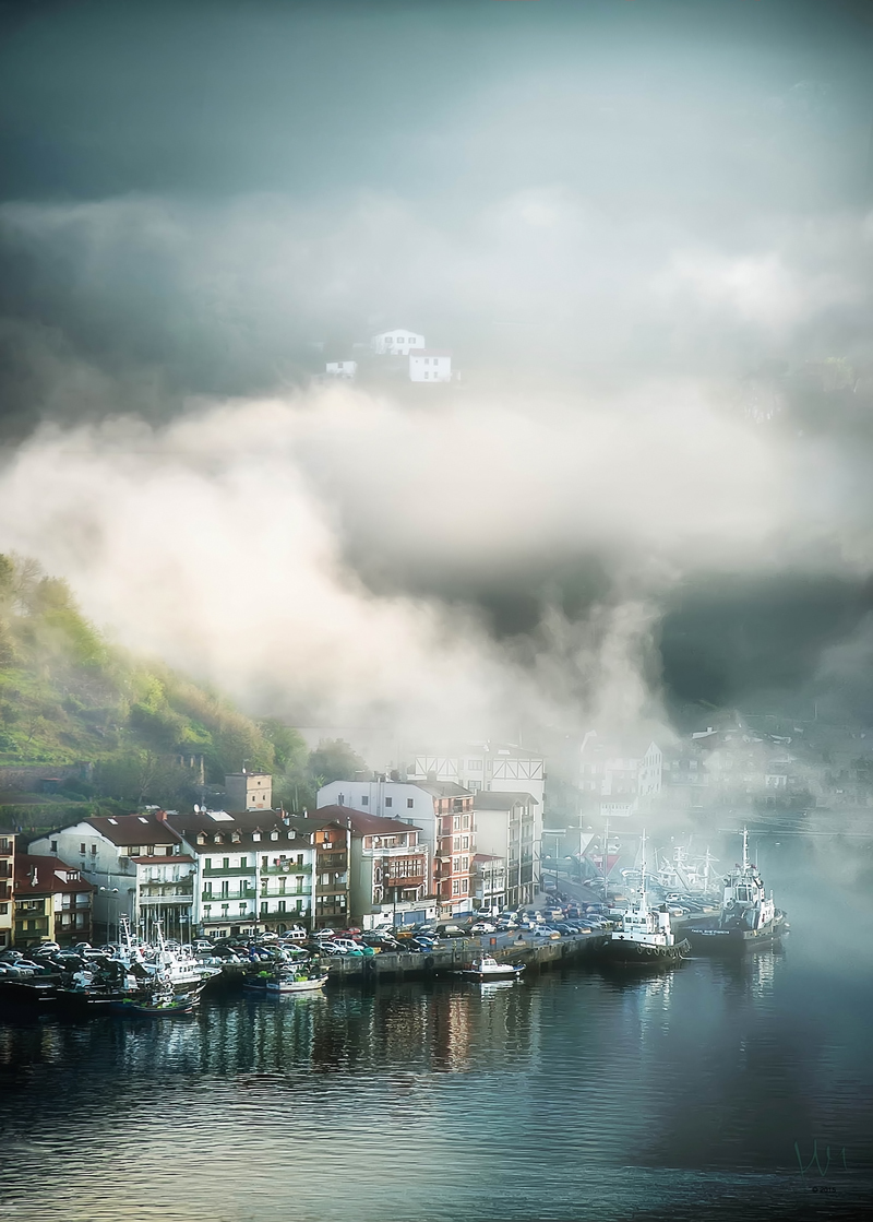 Morning fog over Pasaia Bay. Basque Country, Spain