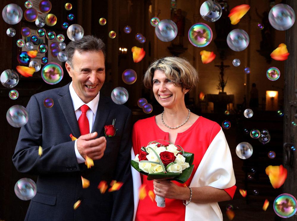 La sortie des mariés