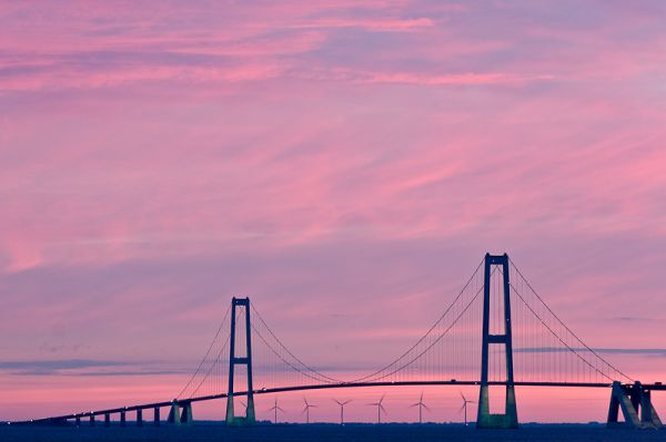 Great Belt Bridge in sunset