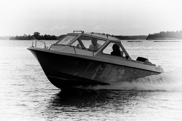 Motorboat in Swedish archipelago