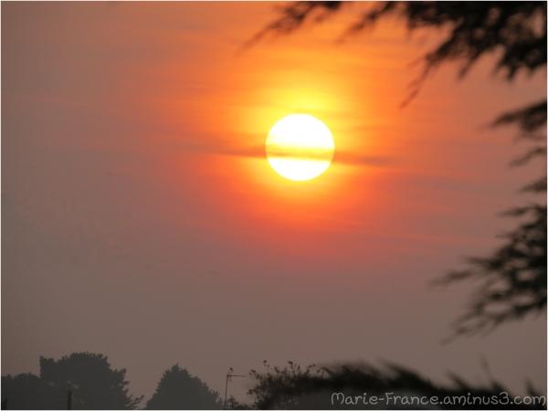 Soleil essayant de percer la brume en Bretagne