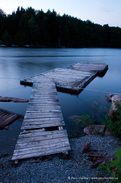 docks in evening light