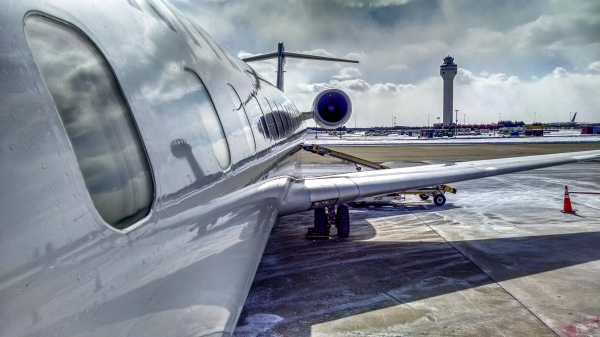 Broading the plane.