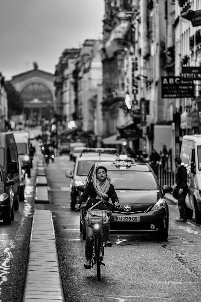 girl on a bike in paris
