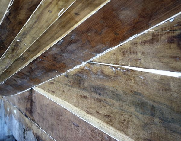 wood boat detail, planks, caulking, wood