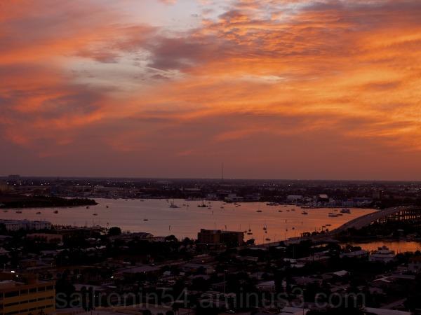 Sunset landscape Palm Beach Peanut Island lights