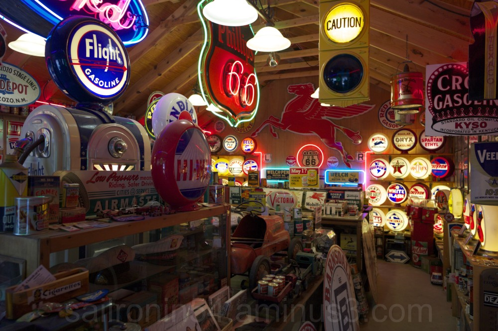 Antique signs in the Gas Museum, Dixon, New Mexico