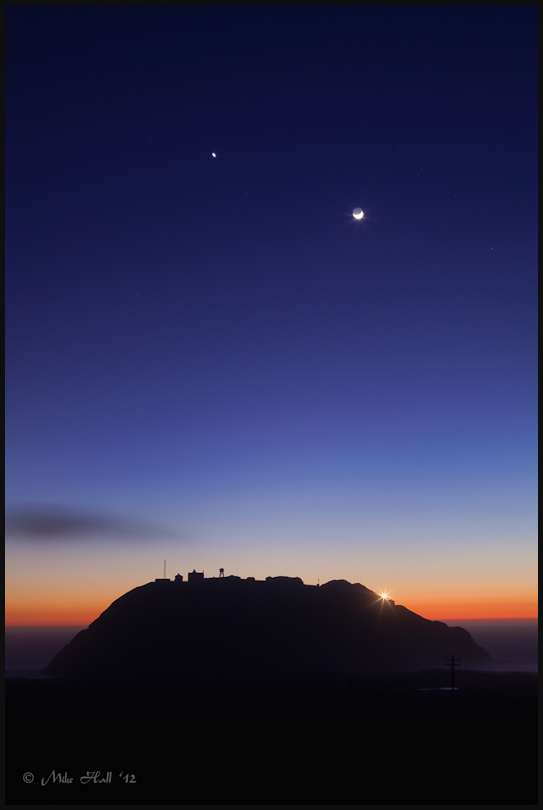 Crescent moon over Point Sur Lighthouse
