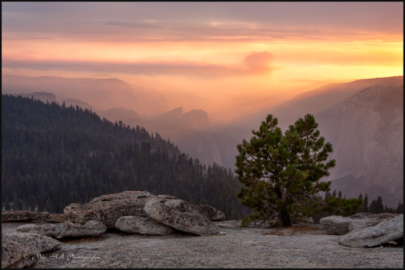 Sunset view from Sentinel Dome of El Portal Fire