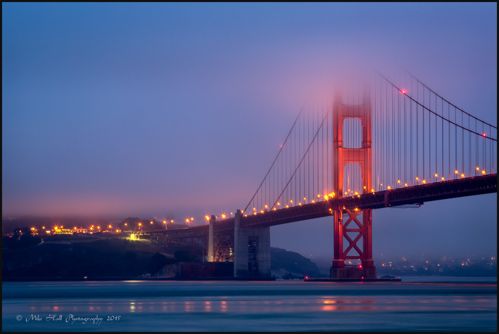 South Tower of the Golden Gate Bridge at night