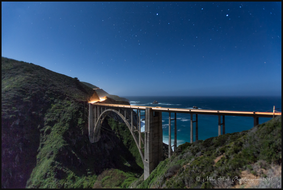 Bixby Bridge under moonlight