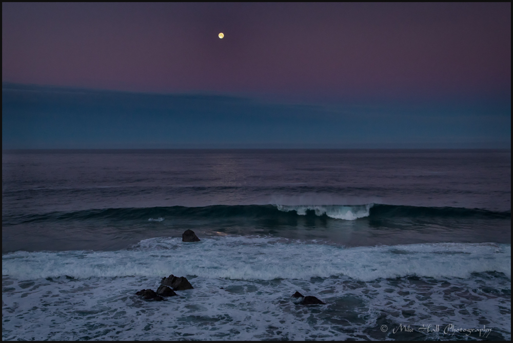 Garrapata Beach Moonset, Big Sur, CA
