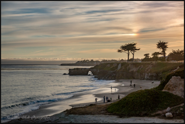 West Cliff Drive in Santa Cruz, CA at Sunset