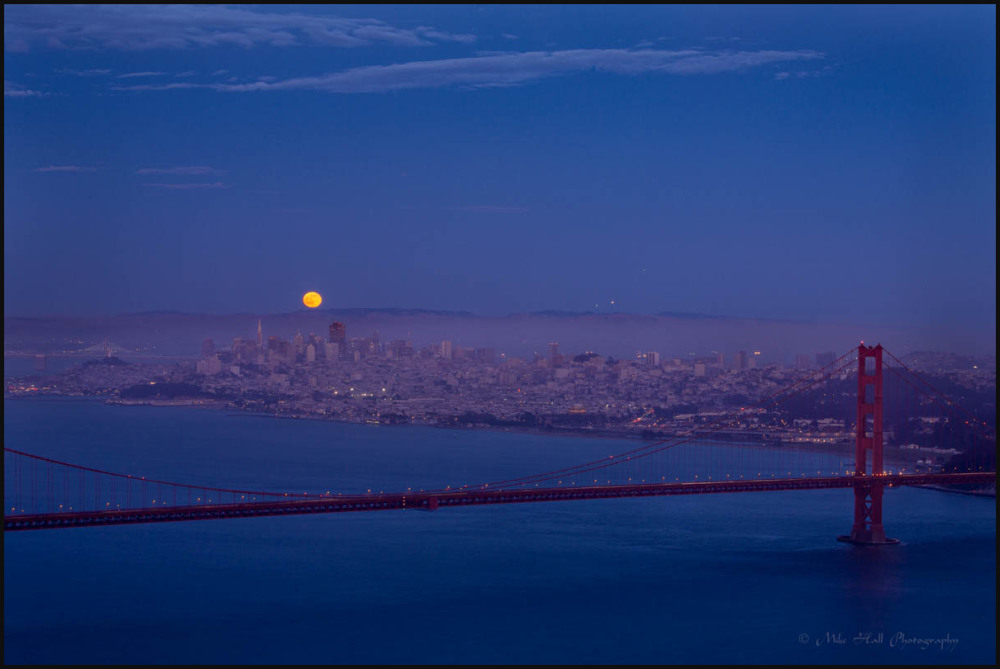 Summer Solstice strawberry moon over San Francisco