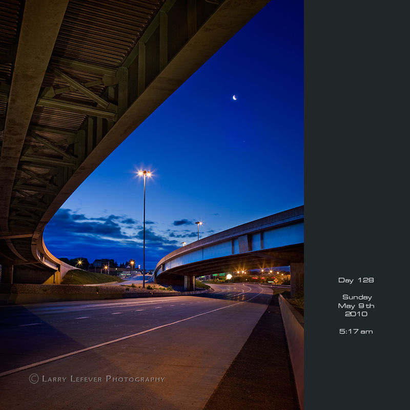 Highway overpass at dawn