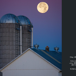 Two Silos Gazing on a Full Moon