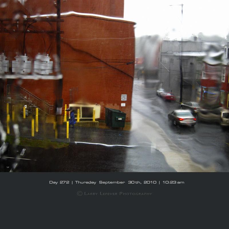 Downpour through window