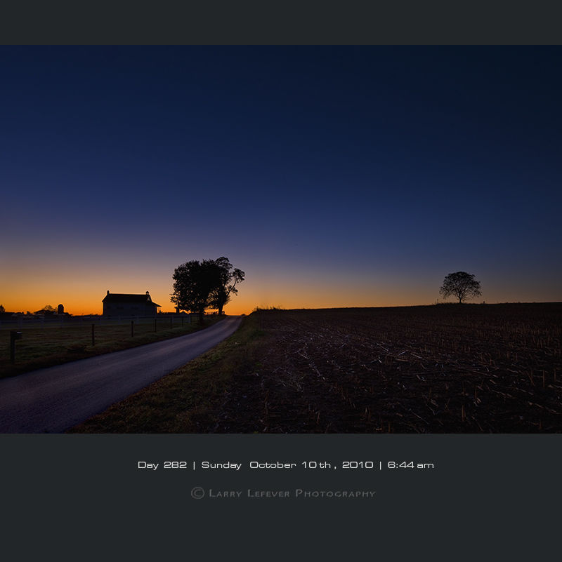 Amish school house at dawn