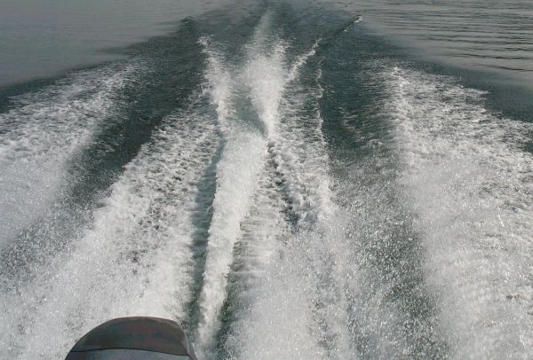 Wake of a motor boat.