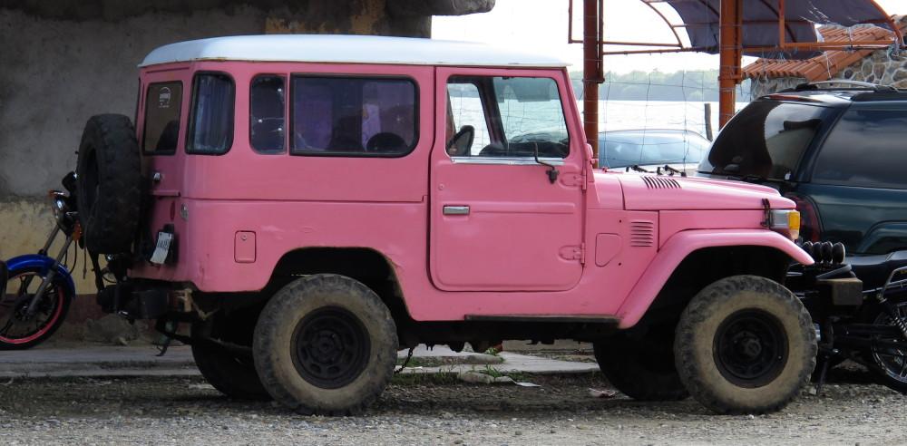 A pink car