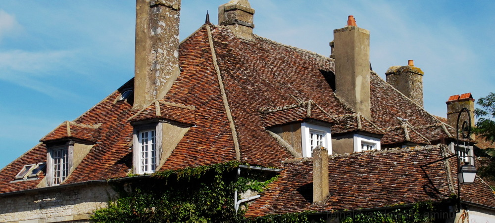 A roof with a lot of windows and chimneys