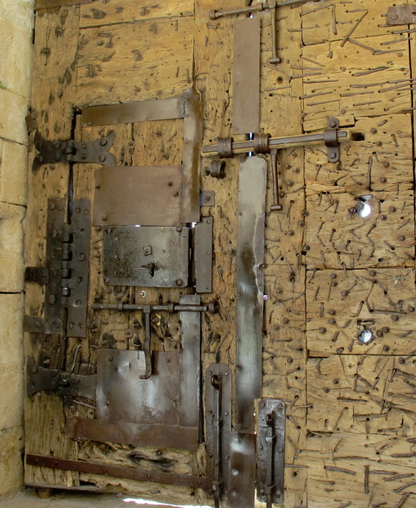 Medieval castle door on the inside