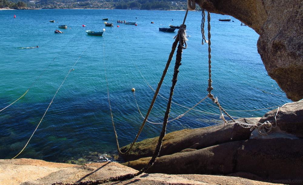 Mooring ropes from fishing boats