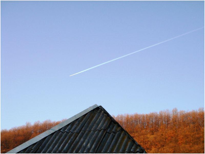 Plane on remote sky