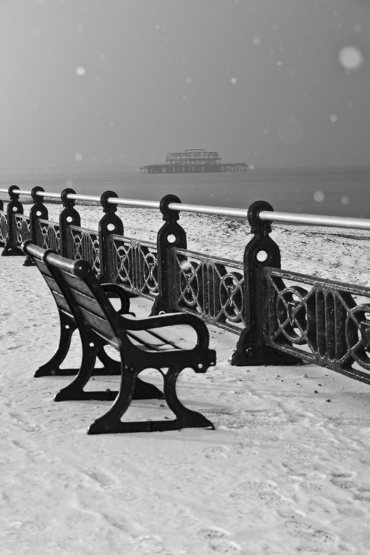 Derelict Brighton west pier in the snow