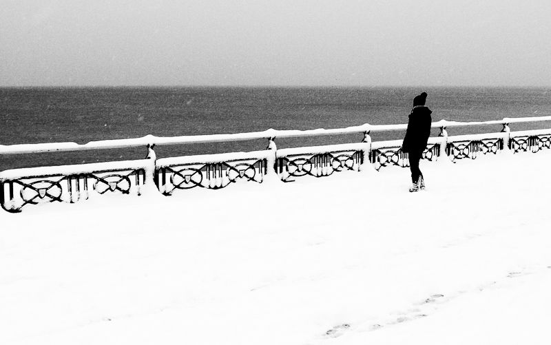 Snow at the seaside